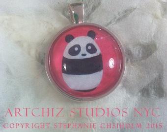 Baby Panda Art Jewelry - Pink - Real Glass - 1 Inch Circle Bezel Silver Pendant - Baby Panda - Cute Animal - Jewelry