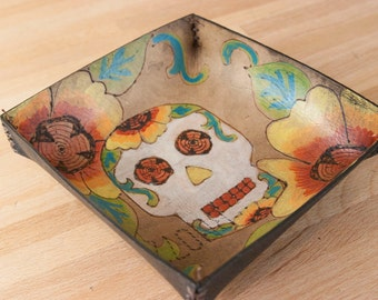 Mini Valet Tray - Catch-All - Leather Tray - Handmade - Bedside Tray - Jewelry Tray - Skull Tray - Day of the Dead - Vesa pattern