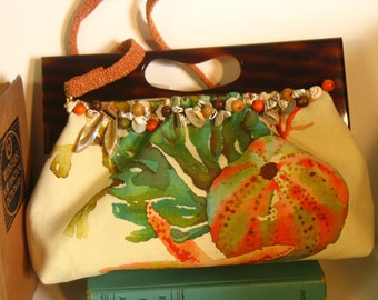Betty Clutch with Vintage Faux Tortoise Lucite Handle by fancibags