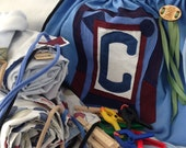 Upcycled Build a Fort Initial Drawstring Bag SET Personalized ONE Bag Two Sheets Five Clothespins Five Clamps