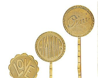 ON SALE Set of 3 14k yellow gold plated love, amour, oui (yes) bobby pins. Valentine's Day, cute, sweet, gift for her, antique, under 20