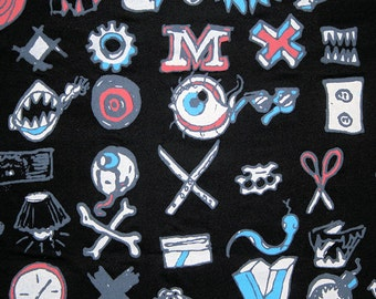 Sale Rare HTF TATTOO Volcom black Cotton Jersey Knit Fabric 1 yd