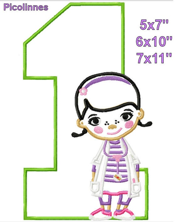 Doctor girl 1 birthday machine embroidery applique design for 7x11 bathroom layouts