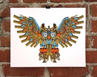 Music Owl - 11x14 Hand printed Art Print.