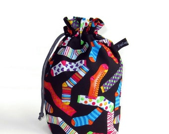 Drawstring Bag, Padded Knitting Project Bag - Jazzed Up Socks