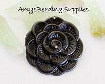 SALE: 1 Vintaj Arte Metal Blooming Flower Rose Pendant 38mm (AP0011)