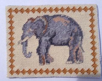Dollhouse Miniature Elephant Needlepoint Rug