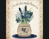 Blue Flowers in Crock  8 by 10 Print by Cheryl Weaver Primitive Country Folk Art