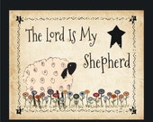 The Lord Is My Shepherd Primitive Print w sheep and flowers 8 by 10 Print by Cheryl Weaver Primitive Country Folk Art