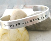 You Are Amazing In Bed double sided, 60 characters on front, 30 on inside, fun and flirty gift for that special someone, hidden message cuff