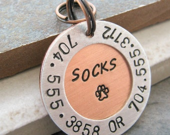 Personalized Pet ID Tag, holds pet name, paw print, 2 phone numbers and an address, dog tag, cat tag, 2 layer, 1 inch round
