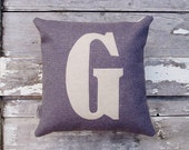 Mini letter cushion/pillow in grey basketweave cotton and applique' wool felt.
