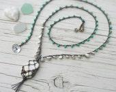 Long Bohemian Layering Necklace - Netted Stone, Macrame, Tassel, Stone Slice, Hippie, Beachy, Boho