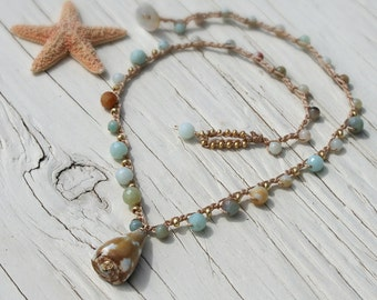 Hawaiian Cone Shell Crocheted Necklace with Natural Amazonite Stone - Beachy Boho Gypsy Summer