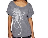 Zentangle Ninja Octopus Tri-Blend Dolman woman T shirts