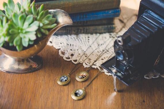 Bridesmaid Necklaces, Set of 3 Photo Lockets - Custom for Wedding, Bridesmaids, Mother - Antique Gold / Silver - Unique Bridal Party Gift