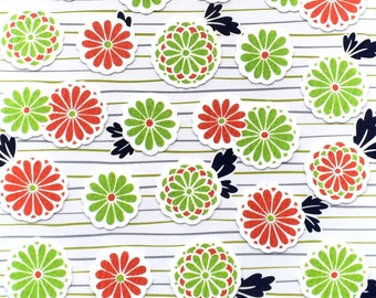 Japanese Washi Paper Stickers - Chiyogami Flower Stickers  - Chrysanthemums  - Traditional Japanese Stickers (S250)