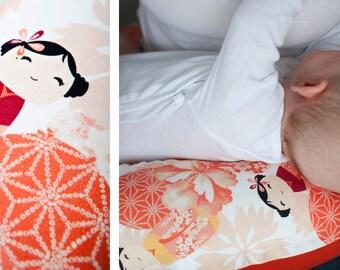 nursing pillow XXL 195 cm MODERN OWLS Pink by millemarille