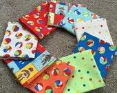 Fabric Destash no. 203, 204 -- 9 Fat Quarters -- Sock Monkeys