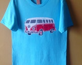 batik hippie camper men t shirt hand painted and hand dyed light blue/turquoise
