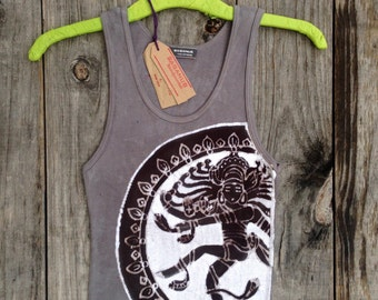 Dancing Goddess, Shiva yoga top, batik ribbed top, tops & tees, festival clothing, gray hand dyed top, Yoga gifts, batik summer top tie dye