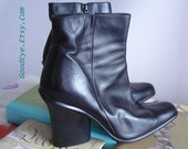 Vintage DKNY Leather Ankle Boots / size 8 .5 Eur 39 UK 6 / Black Sleek Chunky High Heels Booties / Donna Karen Made in SPAIN 90s