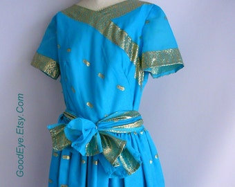 Vintage Blue Metallic Gold Maxi Dress  Small 4 6 8  Full Skirt 1960s Sari Short Sleeves Sash Belt