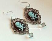 POISON SKULL and Bones Cameo Silver Filigree Earrings in Black and Denim Blue Gothic Lolita Goth Bride Bridal