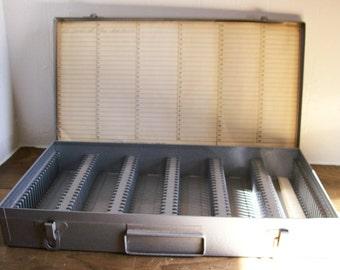 Vintage Metal Slide Case Storage Industrial Box Photo Slides Organization