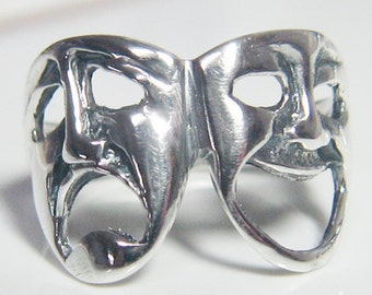 Theater Drama Mask Sterling Silver Ring size 4 to 14 Comedy Tragedy see-through