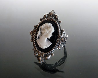 Victorian gothic cameo ring - ornate silver filigree steampunk adjustable SINISTRA ring