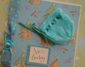 New Baby Card - Gender neutral, unisex - hand knit Bonnet- Mint green and Turqoise