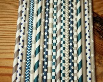 25 Dallas Cowboy Party Straws -- Navy and Gray, Grey Paper Straws