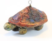 Red and Gold Multi-color Turtle Totem Figurine Holiday Ornament
