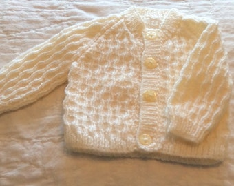 Hand Knitted Cardigan to fit Newborn Baby