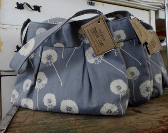 Bridemaids Bags - 5 Bags - Linen Purse - Dandelions - 3 Pockets - Key Fob - Hand made and Hand Printed