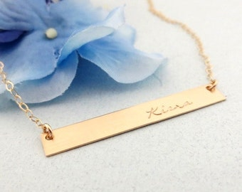 Gold Bar Necklace - Personalized Bar Necklace - Custom Nameplate Necklace - Hand Stamped Jewelry - Gold Bar Name Necklace