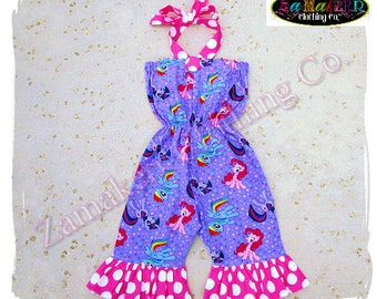 Custom Boutique Clothing Girl My Little Pony Romper Set Birthday Outfit Jumper Summer Halter Size 3 6 9 12 18 24 month size 2t 3t 4t 5t 6 7