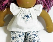 14 to 15 inch Waldorf blue and white doll top and leggings, doll outfit, Waldorf doll clothes, ready to ship
