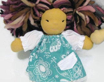 8 inch Chubby Waldorf Doll Clothes, 8 in teal and white floral baby doll dress, doll dress with pocket, small doll clothing