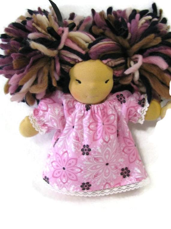 8 inch chubby waldorf pink flannel nightgown, doll clothing, waldorf doll nightgown
