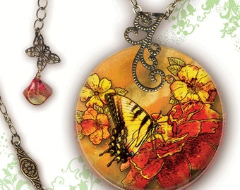 Petite Tiger Swallowtail Butterfly Necklace - Reversible Glass Art - Nouveau Jardin Collection - Petite Tiger Swallowtail Floral Profusion