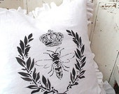 Made To Order White Linen Blend Crown Bee and Laurel Wreath Ruffle Pillow SLIP COVER