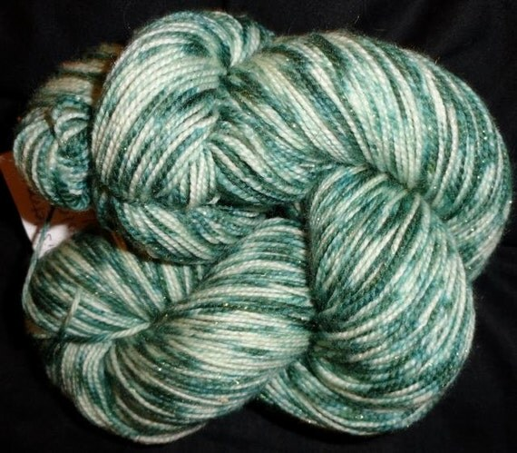 Fairy Sock Gold Cookies' Mistletoe hand dyed sock weight yarn 438 yds
