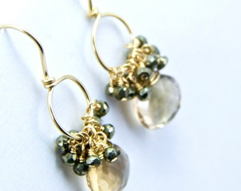 Giovanna - Smokey Quartz Pyrite and Gold Filled Earrings