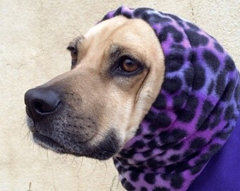 SMALL DOG SNOOD, Purple Polar Fleece snood for Small Dog - purple leopard print, Boston Terrier, Puggle or similar size dog