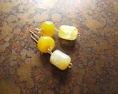 Lemon Tart Glass Beaded Dangle earrings