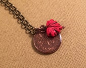 Copper Penny Pendant with Red Canadian Maple Leaf necklace by Jane M Sylvester