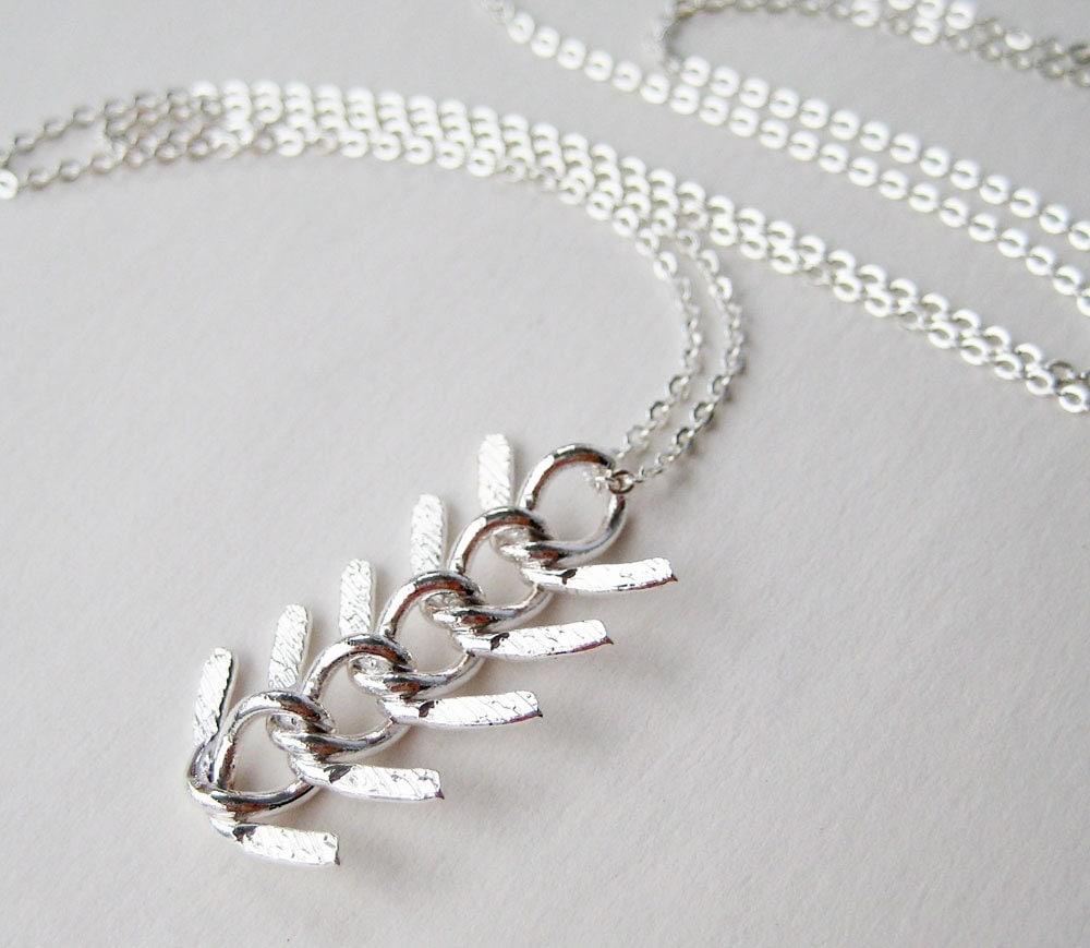 Silver chain necklace silver fish bone chain pendant for Fish bone necklace