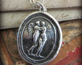 Cupid and Psyche Wax Seal Pendant  Necklace - Soul Mates - Love can overcome any obstacle - E2220